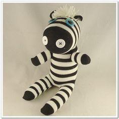 Handmade Sock Zebra Stuffed Animal Doll Baby Toys