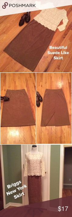 """Carmel Suede-Like Skirt Excellent Condition!!!  Briggs New York Skirt. Has the feel of suede and such a popular color. Long skirt and looks great with boots. Zip closure in bade and also a 15"""" vent in back. Measures 33"""" long and laying flat, waist  measures 15"""" across. Briggs New York Skirts Maxi"""