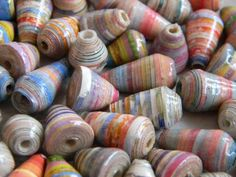 Art Fire - Paper Beads Hand Rolled Hand Painted Lot of 75 - Upcycled - 231
