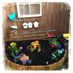 A Little Garden Grows.Building a Sensory Play Garden. All child-directed, all hands-on, and so much scope for the imagination Backyard Play, Small Backyard Landscaping, Backyard For Kids, Garden Kids, Kids Yard, Backyard Sheds, Sensory Garden, Sensory Play, Multi Sensory