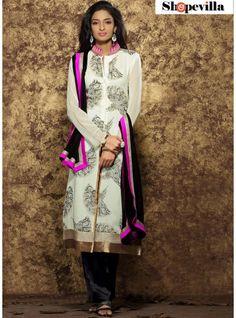 Exceeding Print Work Georgette White Designer Pakistani Suit- HWH-1005
