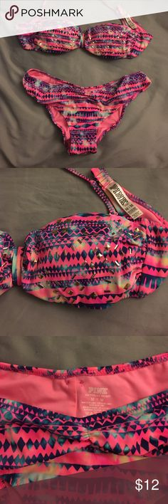 PINK Victoria's Secret bikini Victoria's Secret PINK bathing suit. Bandeau style top with detachable strap. Cheeky bottoms cinched at top. Very flattering. Worn once. Great condition. PINK Victoria's Secret Swim Bikinis