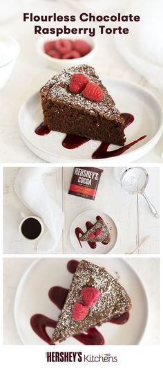 'Tis the season to indulge with this Flourless Chocolate Raspberry Torte. This easy recipe is made with HERSHEY'S SPECIAL DARK Cocoa for a rich taste that's gluten-free! The whole family and friends alike will drool over this torte during the holidays.