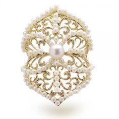 Allurez Vintage Style Diamond & Akoya Pearl Cocktail Ring 14k Y. Gold 5-5.5mm