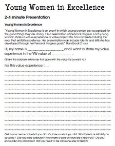 Young Women in Excellence Project Guide.  Outline for a 3-4 minute presentation.