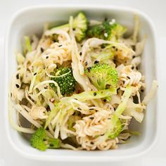 Crunchy Asian Noodle Slaw...  Sesame seeds, ramen noodles, soy sauce, ginger and fresh broccoli give Asian flair to cole slaw.