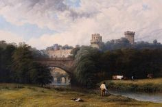 Warwick Castle from the River  by Thomas Baker of #LeamingtonSpa 1842 @The_Herbert