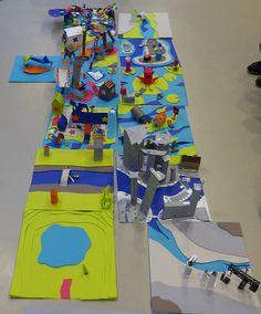 Morceaux de ville en papier - stage enfant