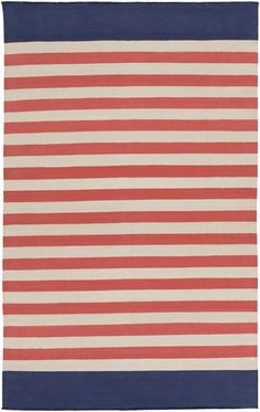Preppy Coral and Navy Blue Striped Area Rug