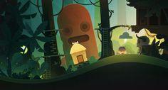 Illustration vectorielle réalisée avec Photoshop d'un village d'une tribu dans la forêt avec une statue du jeu video Tiny Thief.