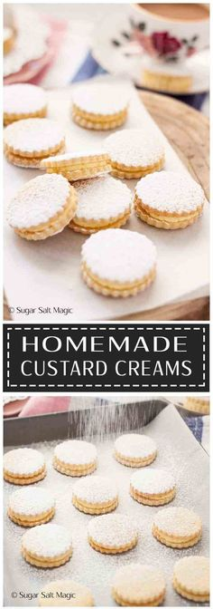 Homemade Custard Creams are delightful sugar cookies filled with a custard flavoured buttercream. Custard Biscuits, Custard Cookies, Cream Biscuits, Biscuit Cookies, Custard Desserts, Custard Recipes, Sugar Cookie Recipe No Egg, Homemade Sugar Cookies, Yummy Cookies