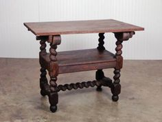 Unusual Antique French Weathered Oak Table with Barley Twist Legs Folds Into a Chair, Stretcher with Folding Top That Becomes the Chair Back Avignon, France, Circa 1900