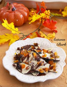 Autumn Bark is just like twigs and autumn leaves all deliciously set upon a bed of chocolate. Candy Recipes, Fall Recipes, Dessert Recipes, Holiday Recipes, Homemade Apple Pies, Homemade Candies, Yummy Treats, Sweet Treats, Yummy Food