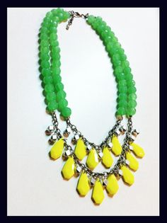 NOW FOR SALE on my etsy page! Green & Yellow Statement necklace on Etsy, $35.00 Summer Fun, Spring Summer Fashion, Beaded Necklace, Fashion 2014, Yellow, Trending Outfits, Bling Bling, Unique Jewelry, Handmade Gifts