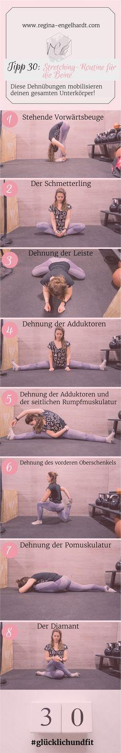 In meinem letzten Beitrag der #glücklichundfit Reihe zeige  ich dir eine Stretching-Routine für die Beine. Die Dehnübungen, die ich dir jetzt zeige, mache ich selbst so oft es geht.
