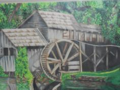 The Mill 11 x 14 Colored Pencil Drawing by AllBeckysCreations Team Theme, Pencil Drawings, Colored Pencils, Water Wheels, Water Mill, Water Colors, Windmills, Acrylic Paintings, Address Labels