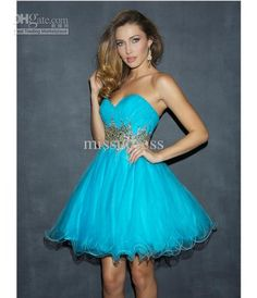 Short Light Blue Prom Dresses Sweet 16 Dress Strapless Beading And Sequin Tulle Homecoming Dress