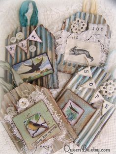 Collection of Vintage Spring Decor Altered Art Cards by QueenBe