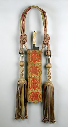 Africa | Ceremonial Sword and Sheath from the Edo people, Nigeria {Court of Benin | Iron, ivory, silk, wool, cotton, yarn, leather, metal tacks, staples | ca. 1856 - 1897