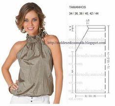 Risultati immagini per moldesedicasmoda Dress Sewing Patterns, Blouse Patterns, Sewing Patterns Free, Clothing Patterns, Fashion Sewing, Diy Fashion, Costura Fashion, Sewing Blouses, Diy Kleidung