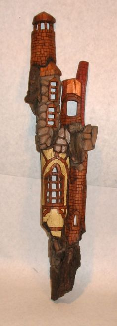 "Prospect Tower House - a ""Home of the Wee People"" by Matt Kelley.   Cottonwood bark, ~14"" tall"