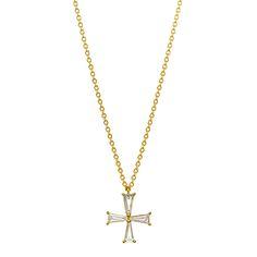 ジュエリー ネックレス&ペンダント検索 K18YG テーパーダイヤモンド クロス ネックレス | BRILLIANCE+