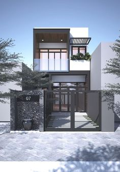 36 Popular Modern Dream House Exterior Design Ideas For Your House Planning ~ Ideas for House Renovations House Front Design, Small House Design, Modern House Design, Home Design, Design Ideas, Design Inspiration, Minimalist House Design, Minimalist Home, Narrow House Designs