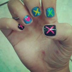 """green day """"oh love"""" nails!!!- now I wish I'd done them instead :("""