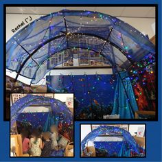 Sheer sarong covering cheap garden arches in the small world area - from Rachel (,) Reading Corner Classroom, Space Classroom, Classroom Organisation, Classroom Environment, Classroom Setting, Book Corner Eyfs, Reading Den, Reading Nooks, Preschool Classroom
