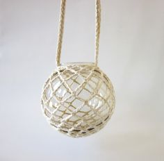 Smoke Colored Glass Globe Hanging Candle Holder by PoorLittleLamb, #candleholder #upcycled #handmade
