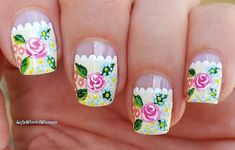 #Romantic #pastel #flower #frenchmanicure #nailart French Manicure Nails, French Manicure Designs, Nail Designs, Easy Nail Art, Nail Tutorials, Simple Nails, Nailart, Easy Diy, Pastel