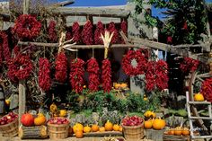 Red chiles and vegetables for sale, roadside stand, New Mexico