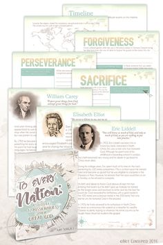 12 Week Unit Study of famous missionaries, including history and geography, copywork, and character training