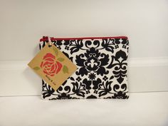 Cream and Black Damask Small Pouch Small Cosmetic by BallyandLis