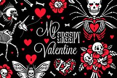 My Funny Valentine, Valentines Day, Skull Moth, Unicorn Tattoos, Gothic, Stationery Paper, Unique Cards, Halloween Cat, Graphic Illustration