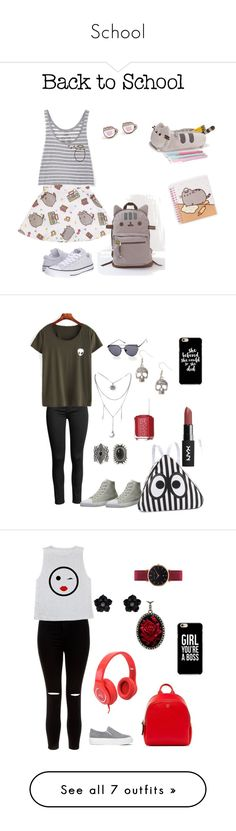 """School"" by lukneee ❤ liked on Polyvore featuring Pusheen, Converse, contestentry, PVxPusheen, Burnetie, New Look, Bubbly Bows, Essie, MCM and Stephen Dweck"