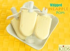 Whipped Pineapple Pops - just like 'Dole Whip' from Disneyland, but healthier and only 3 ingredients! Crushed Pineapple, Super Healthy Kids, Coconut Milk, Almond Milk, Popsicle Molds, Consistency, Vegan Treats, Freeze, High Power Blender
