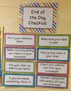 End of the Day Checklist by Fit To Be Fourth - like this idea but would edit and…