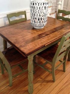 Antique Maple Dining Table and Chairs Refinished in Green Milk Paint. Distressed with chippy finish on Etsy.