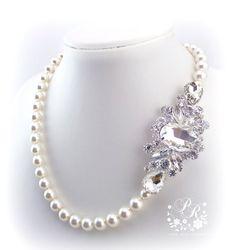 Wedding Necklace Swarovski Pearl & Crystal by PureRainDesigns, $45.00