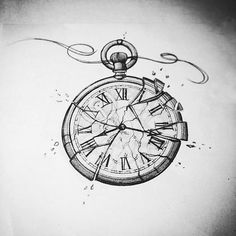 Tattoos - Best Tattoos ,- Best Tattoos , Pocket watch tattoo with feather - Pocket watch tattoo with feather - 45 Unique Style Couple Tattoos Ideas For Lovers Tatto Clock, Broken Clock Tattoo, Clock Tattoo Design, Clock Art, Tattoo Designs, Stop Watch Tattoo, Watch Tattoos, Neue Tattoos, Body Art Tattoos