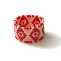 Beadwoven peyote ring  ethnic style beaded jewelry by Anabel27shop