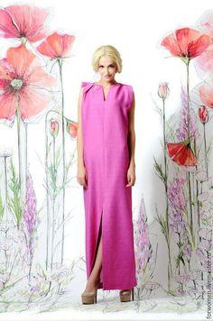 Яркое длинное платье, фуксия