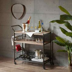 Rustic Mini Bar Kitchen Island Serving Cart On Wheels w Storage Shelves Baskets  #Unspecified