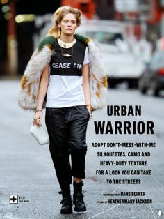 """Urban Warrior"" Heidi Mount by Hans Feurer for ELLE Australia March 2014"