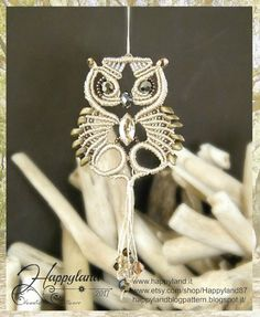 Glaux the Owl macramè pendant pattern by Happyland87 on Etsy