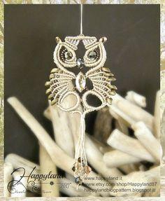 Glaux the Owl , macramè pendant pattern