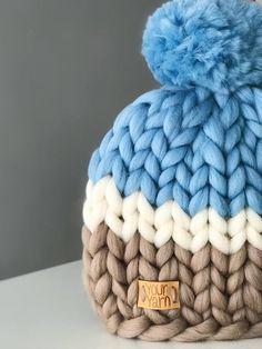 Items similar to Women's wool knit hat, Helsinki Hat, Super chunky hat with pom pon, Knit Hat. on Etsy Crochet Slippers, Knit Crochet, Crochet Hats, Afghan Crochet Patterns, Knitting Patterns, Big Knits, Chunky Knits, Arm Knitting, Knit Beanie