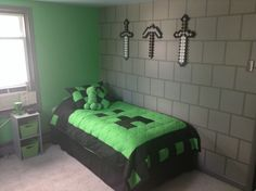 My sons awesome minecraft bedroom!                                                                                                                                                                                 More