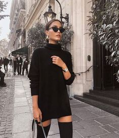Fall winter fashion black sweater dress sunglasses over the knee boots knee high boots black street style chic inspiration more on fashionchick Mode Outfits, Trendy Outfits, Fashion Outfits, Fashion Trends, Fashion Fashion, Fashion Clothes, Fashion Styles, Trendy Fashion, Fashion 2018